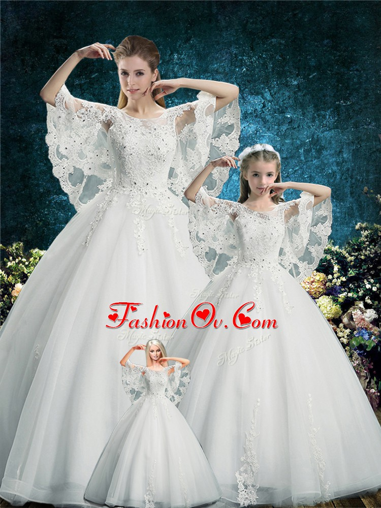 Shining White Half Sleeves Floor Length Lace Lace Up Sweet 16 Dress