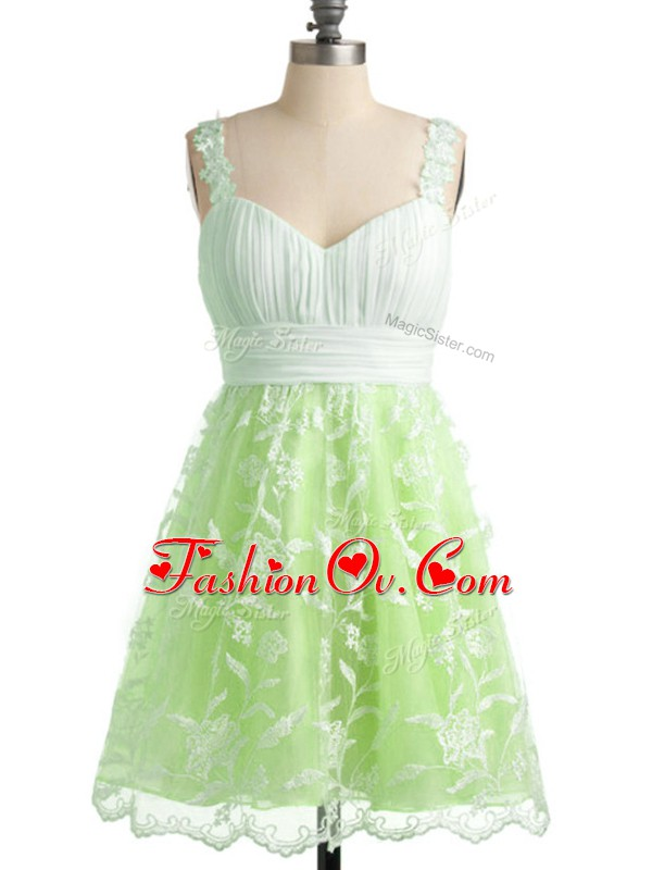 Sleeveless Lace Up Knee Length Lace Quinceanera Court of Honor Dress