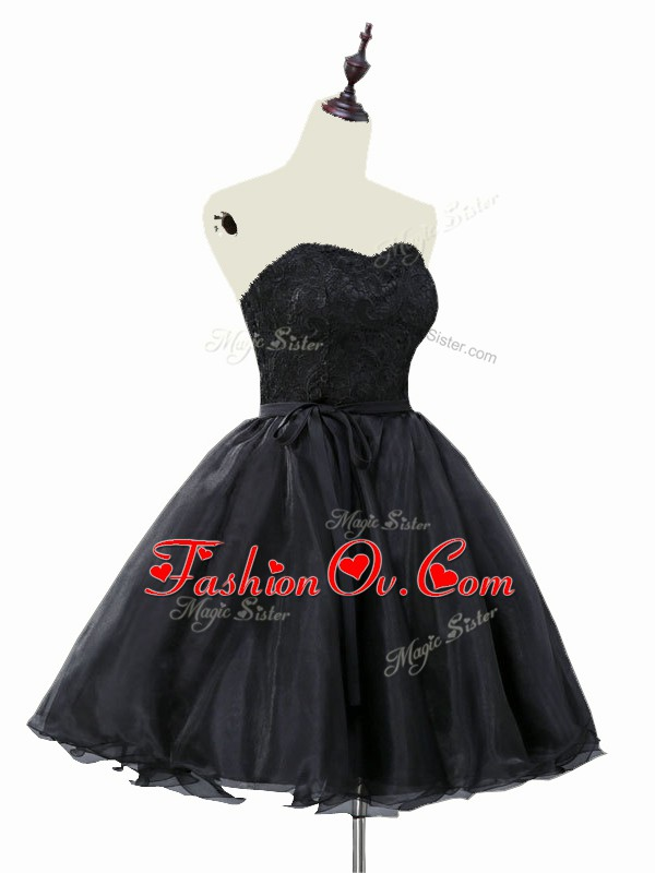 Organza Sweetheart Sleeveless Lace Up Lace and Sashes ribbons Dress for Prom in Black