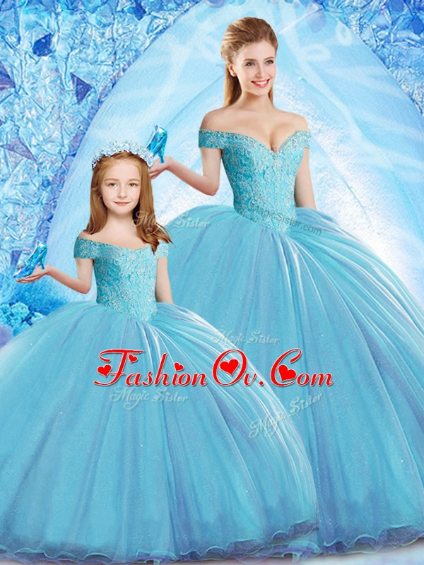 Edgy Baby Blue Sleeveless Beading Lace Up Quinceanera Gowns