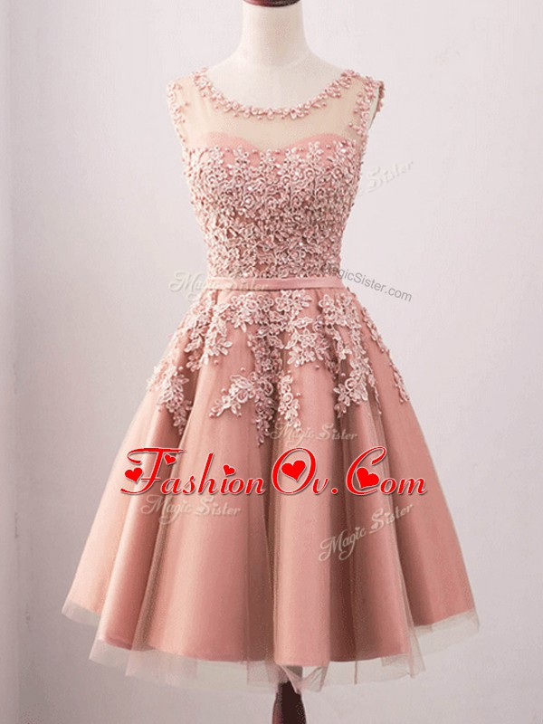 Knee Length Pink Bridesmaid Gown Tulle Sleeveless Lace