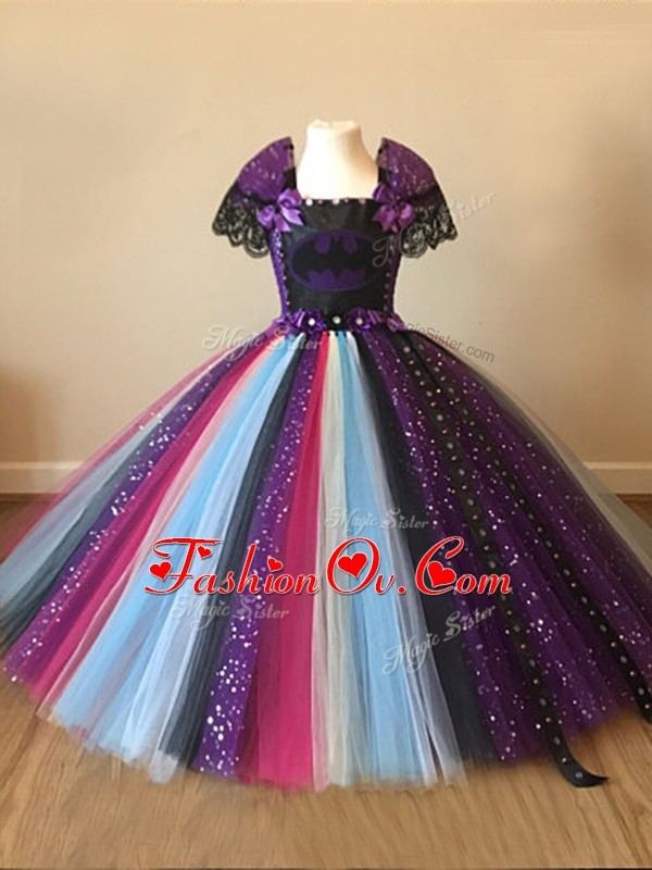 Square Short Sleeves Tulle Little Girls Pageant Dress Wholesale Sequins and Pattern Zipper
