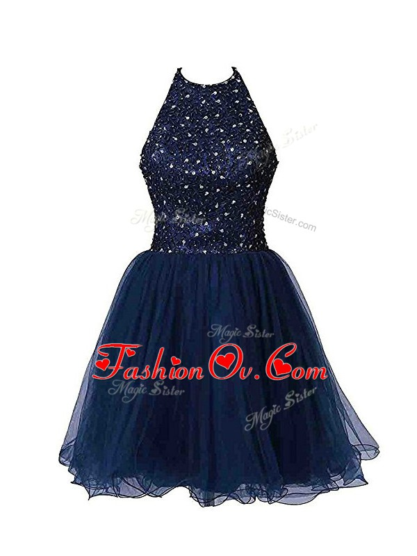 Perfect Halter Top Sleeveless Zipper Cocktail Dresses Navy Blue Tulle