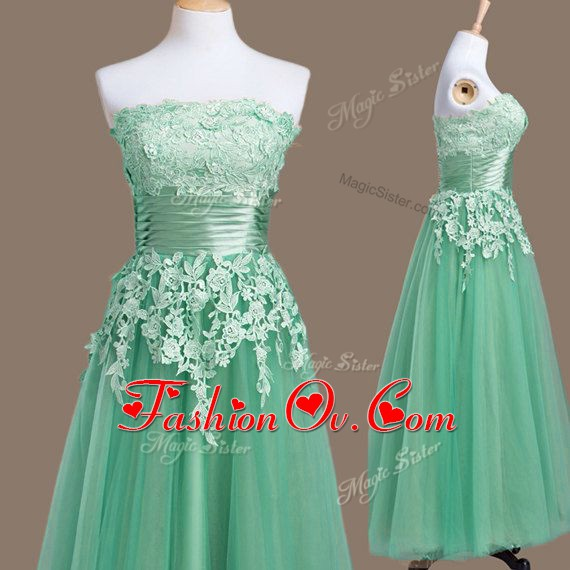 Lovely Sleeveless Tea Length Appliques Lace Up Quinceanera Court Dresses with Turquoise