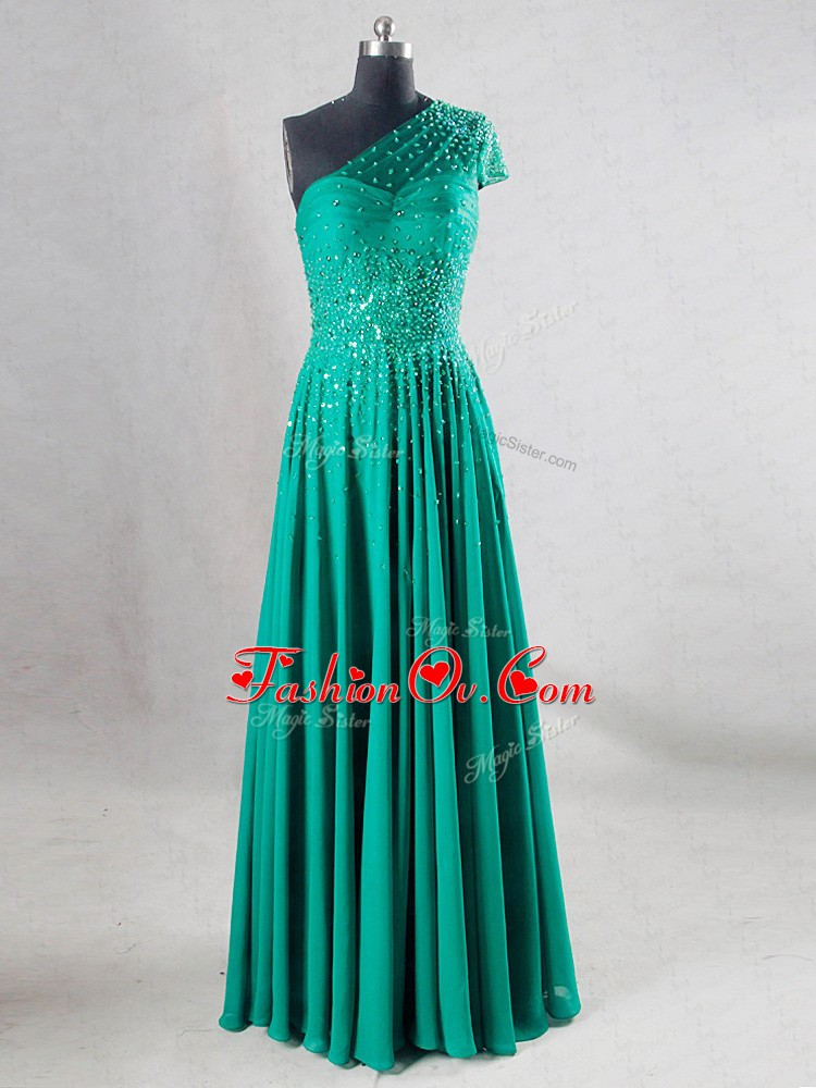 Turquoise Pageant Dress Womens Prom and Party and Military Ball and Sweet 16 and Beach with Beading and Pleated Sweetheart Sleeveless Backless