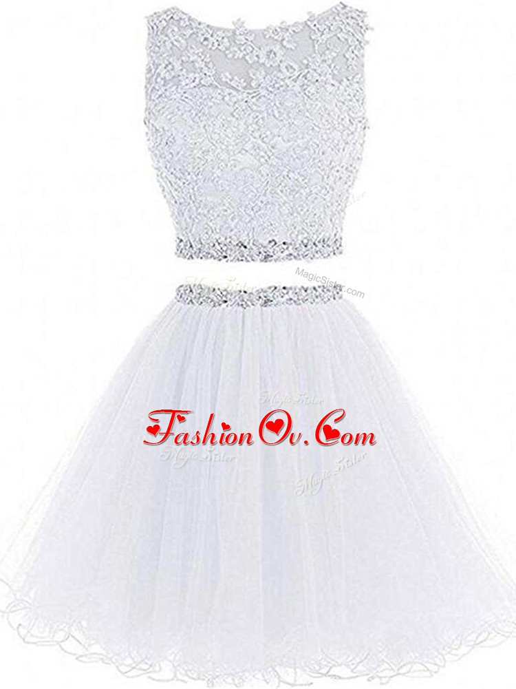 Exquisite White Zipper Junior Homecoming Dress Beading and Lace and Appliques Sleeveless Mini Length