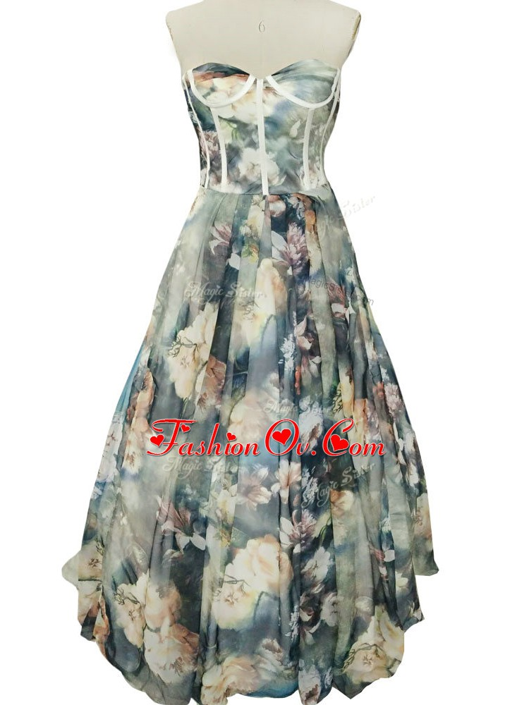 High Quality Floor Length Multi-color Prom Dress Printed Sleeveless Ruching