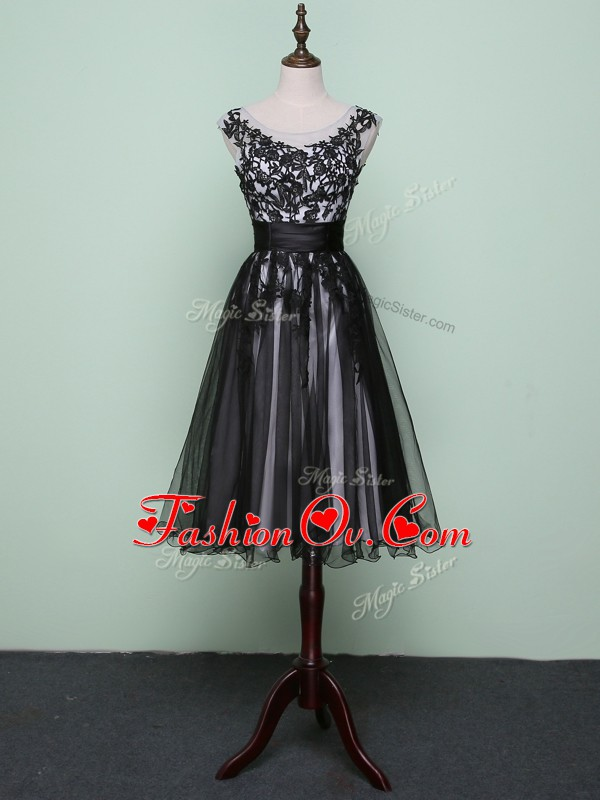 Fashionable Black A-line Lace and Appliques Zipper Tulle Sleeveless Knee Length