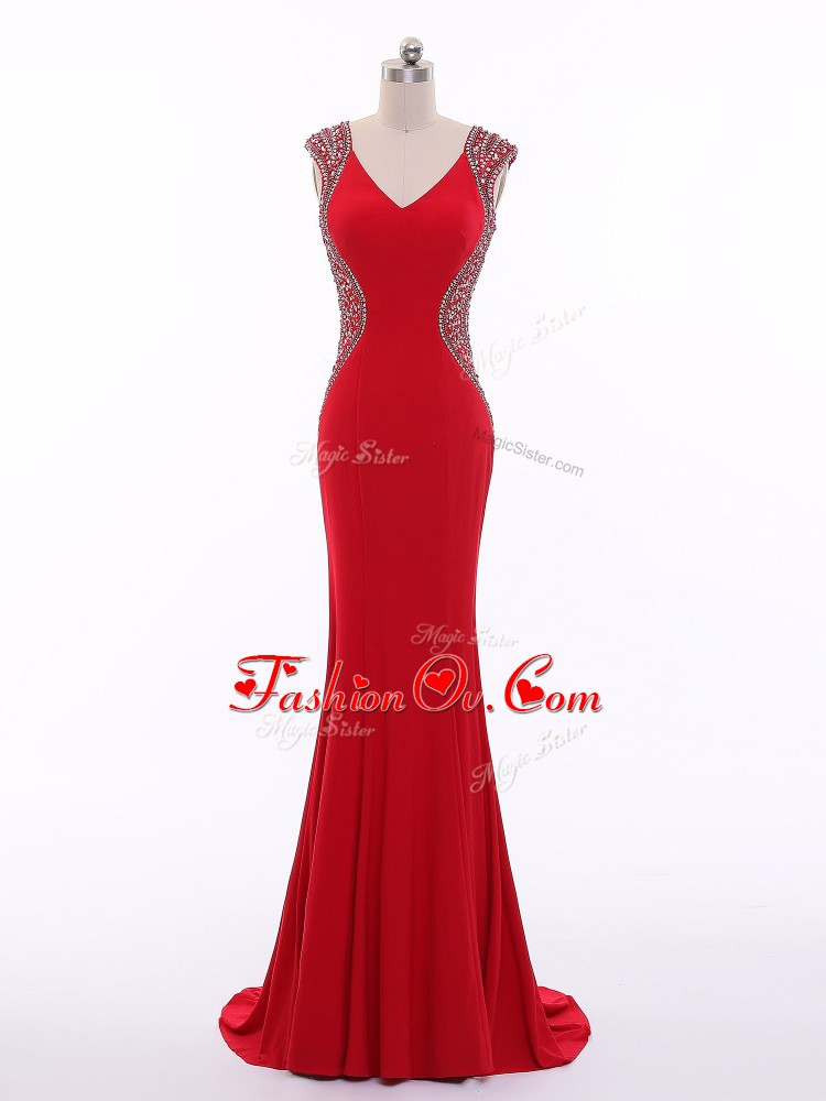 Pretty V-neck Sleeveless Evening Dress Brush Train Beading Red Chiffon