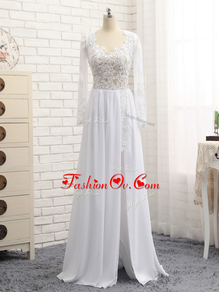 White Chiffon Zipper V-neck Long Sleeves Floor Length Lace and Appliques