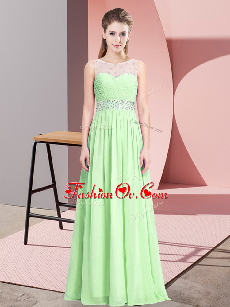 Best Selling Chiffon Sleeveless Floor Length Prom Party Dress and Beading