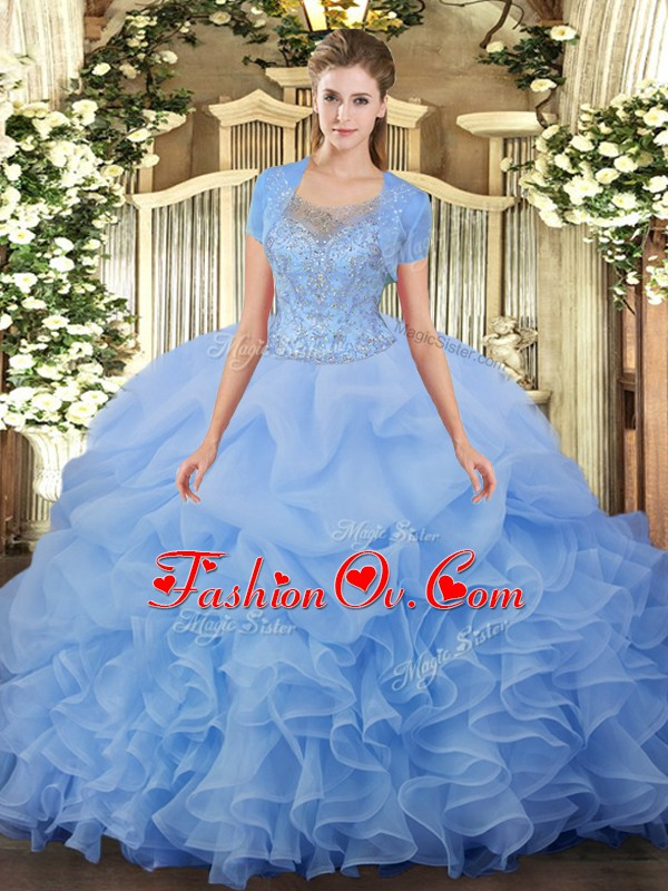 Glittering Aqua Blue Ball Gowns Scoop Sleeveless Tulle Floor Length Clasp Handle Beading and Ruffled Layers 15 Quinceanera Dress