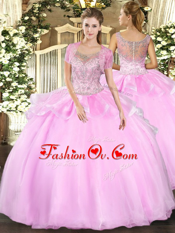 Graceful Baby Pink Sleeveless Floor Length Beading and Ruffles Clasp Handle Vestidos de Quinceanera