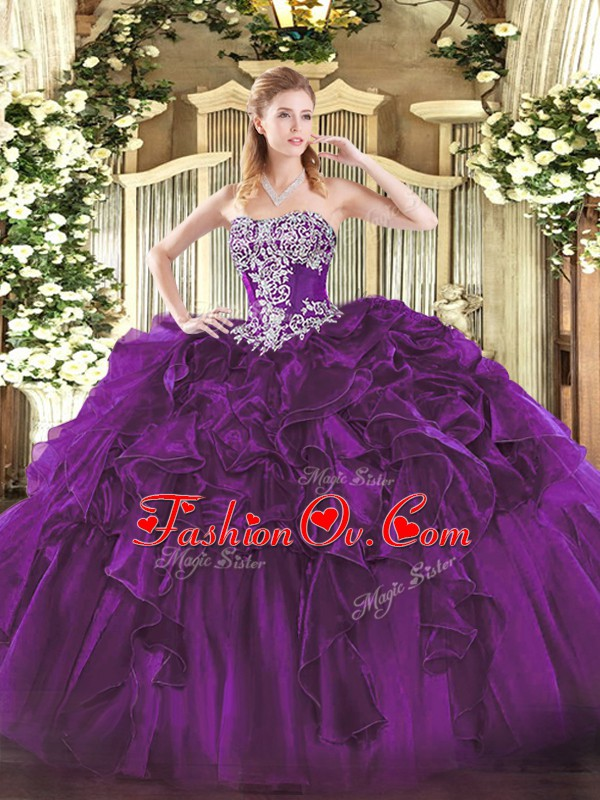 Wonderful Dark Purple Strapless Neckline Beading and Ruffles Ball Gown Prom Dress Sleeveless Lace Up