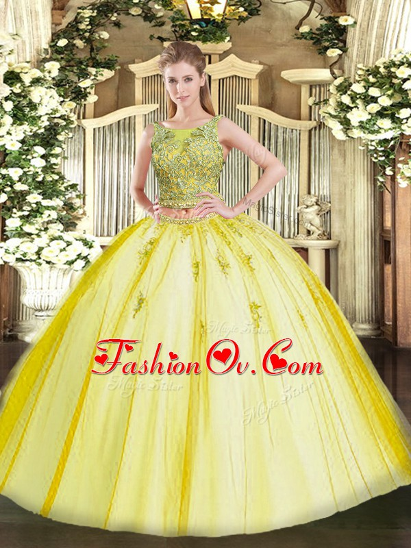 Yellow Two Pieces Tulle Scoop Sleeveless Beading and Appliques Floor Length Lace Up 15th Birthday Dress