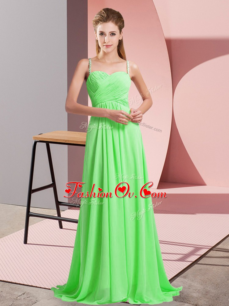 Artistic Criss Cross Evening Dress for Prom and Party with Beading Sweep Train