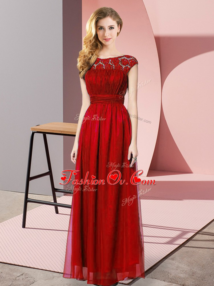 Spectacular Wine Red Zipper Homecoming Dress Lace Sleeveless Floor Length
