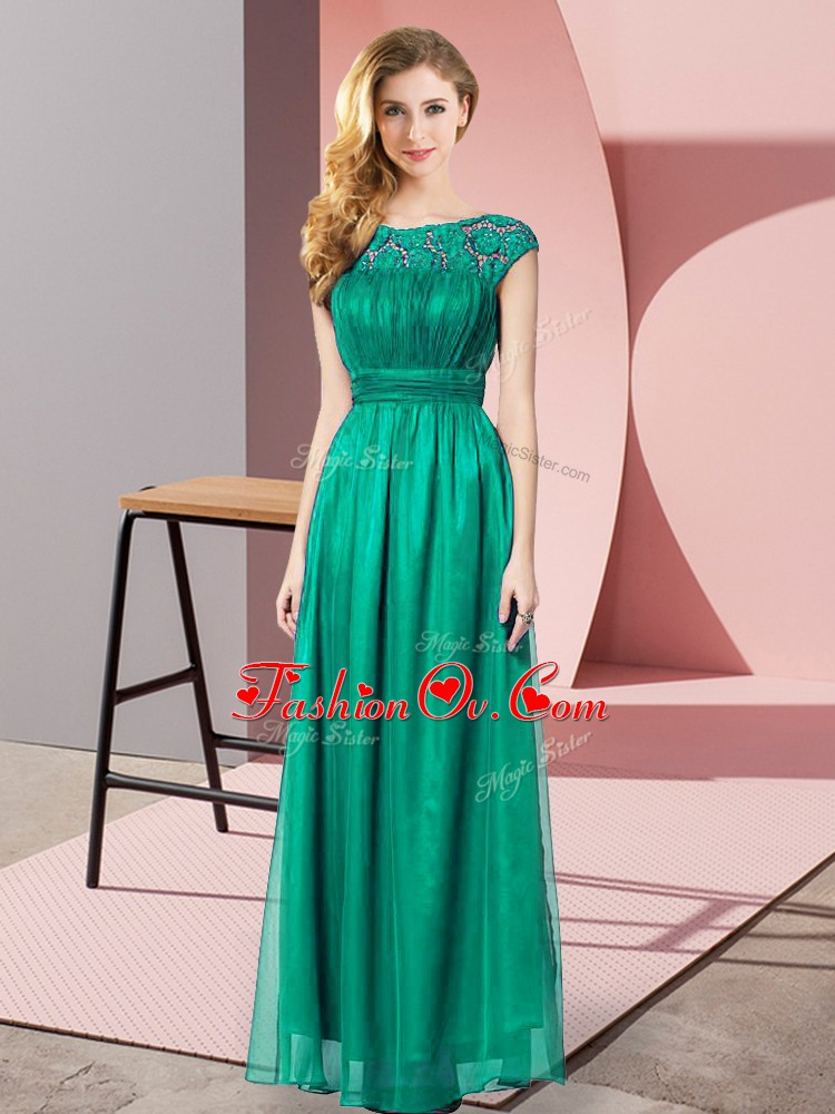 Empire Evening Dress Turquoise Scoop Tulle Sleeveless Floor Length Zipper