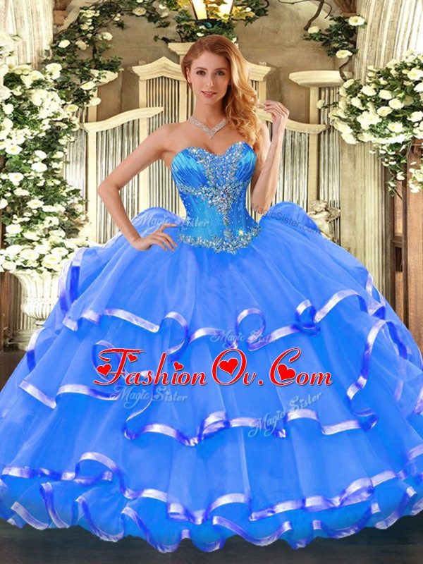 Sweet Beading and Ruffled Layers 15th Birthday Dress Blue Lace Up Sleeveless Floor Length