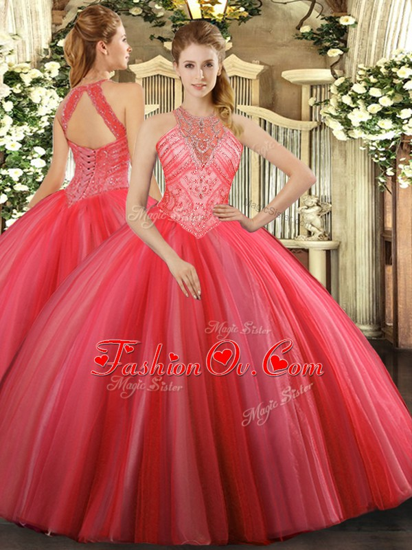 Dazzling High-neck Sleeveless Tulle Quinceanera Dress Beading Lace Up