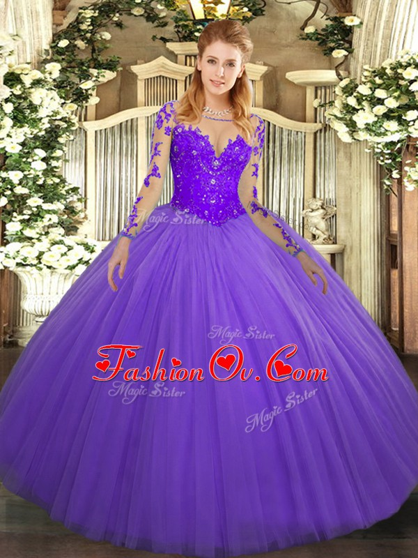 Tulle Scoop Long Sleeves Lace Up Lace Ball Gown Prom Dress in Lavender