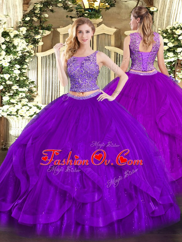 Purple Organza Lace Up Quinceanera Gown Sleeveless Floor Length Beading and Ruffles