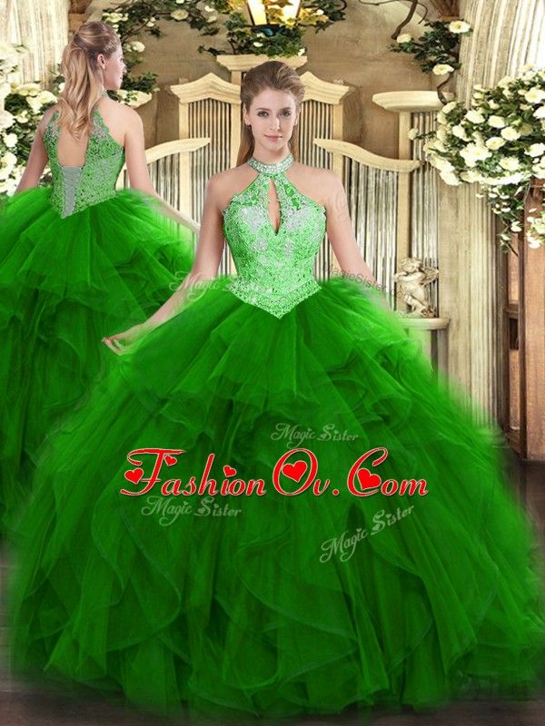 Green Halter Top Lace Up Ruffles and Sequins 15th Birthday Dress Sleeveless