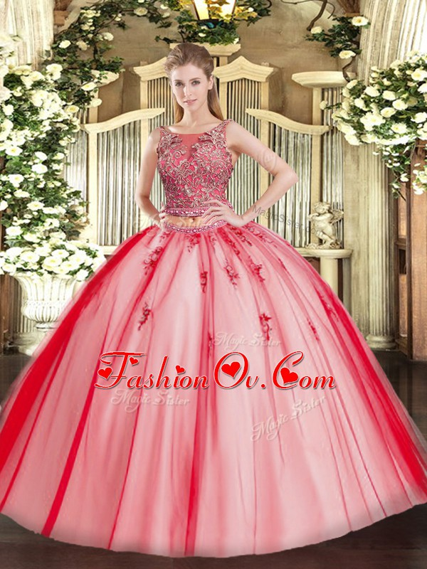 Extravagant Coral Red Two Pieces Tulle Scoop Sleeveless Beading and Appliques Floor Length Lace Up Vestidos de Quinceanera