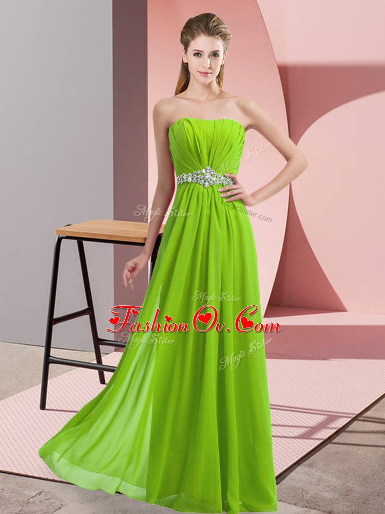 Chiffon Lace Up Strapless Sleeveless Floor Length Beading