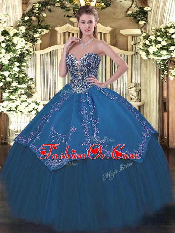 Blue Sweetheart Lace Up Beading and Embroidery 15 Quinceanera Dress Sleeveless