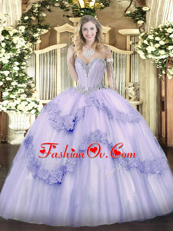 Floor Length Lace Up Quince Ball Gowns Lavender for Military Ball and Sweet 16 and Quinceanera with Beading and Appliques