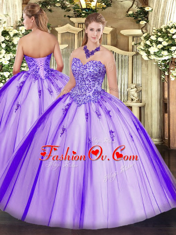 Dazzling Lavender Ball Gowns Sweetheart Sleeveless Tulle Floor Length Lace Up Appliques Sweet 16 Dress
