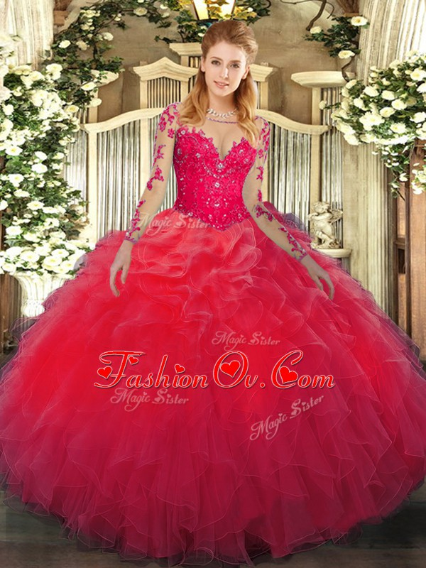 Long Sleeves Lace Up Floor Length Lace and Ruffles Sweet 16 Dress