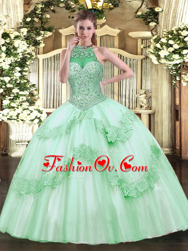 Apple Green Lace Up Sweet 16 Dresses Beading and Appliques Sleeveless Floor Length