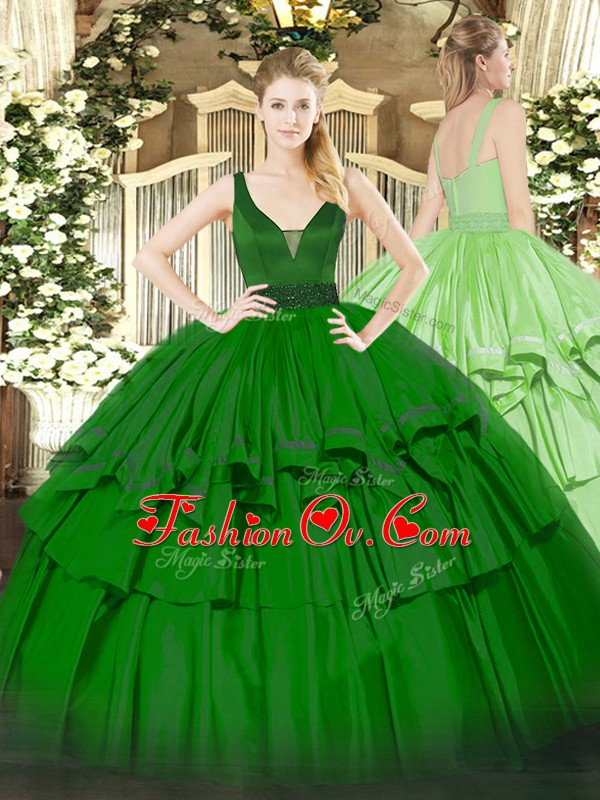 Comfortable Green Sleeveless Beading and Ruffled Layers Floor Length Sweet 16 Dresses