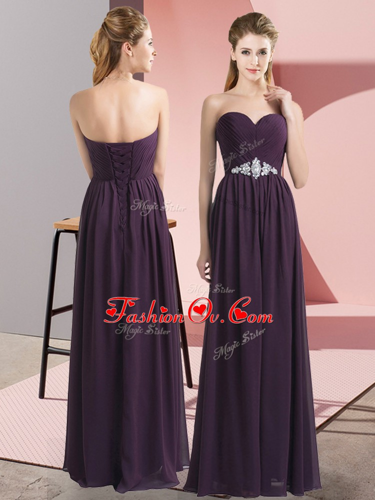 Designer Floor Length Empire Sleeveless Dark Purple Prom Evening Gown Lace Up