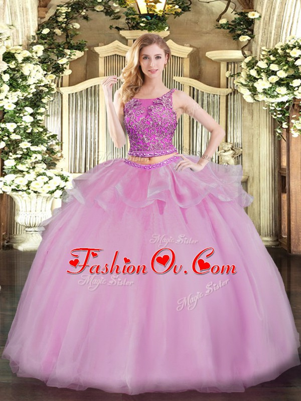 Comfortable Lilac Sleeveless Organza Lace Up Sweet 16 Dresses for Military Ball and Sweet 16 and Quinceanera