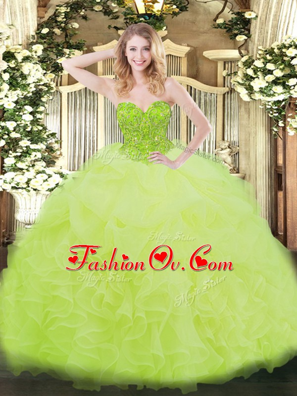 Sweetheart Sleeveless Organza Sweet 16 Dresses Ruffles Lace Up