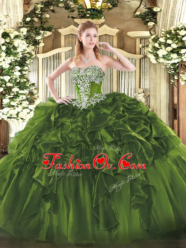 High End Olive Green Sleeveless Floor Length Beading and Ruffles Lace Up Quinceanera Dresses