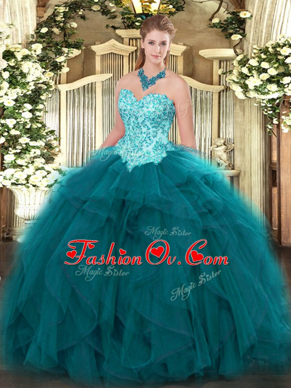 Teal 15th Birthday Dress Military Ball and Sweet 16 and Quinceanera with Appliques and Ruffles Sweetheart Sleeveless Lace Up