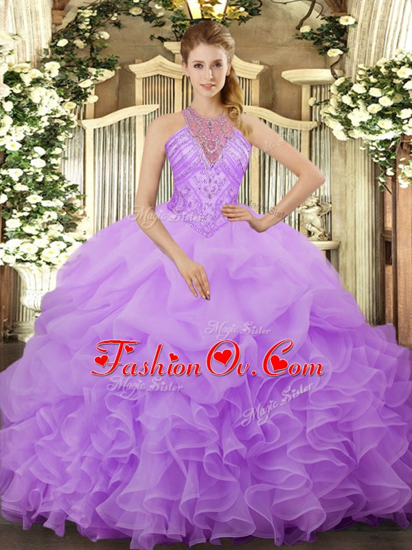 Unique Lavender Lace Up Halter Top Beading and Ruffles and Pick Ups Sweet 16 Quinceanera Dress Organza Sleeveless
