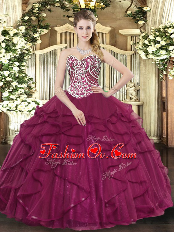 High Quality Sleeveless Tulle Floor Length Lace Up Sweet 16 Dress in Burgundy with Beading and Ruffles