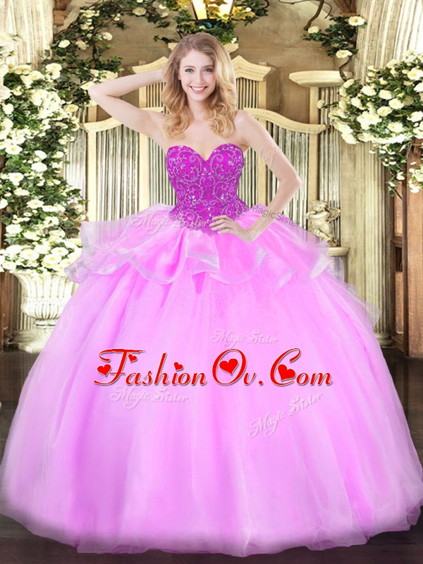Baby Pink Ball Gowns Sweetheart Sleeveless Organza Floor Length Lace Up Beading 15 Quinceanera Dress