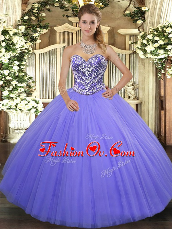 Romantic Lilac Sweetheart Neckline Ruffles 15 Quinceanera Dress Sleeveless Lace Up
