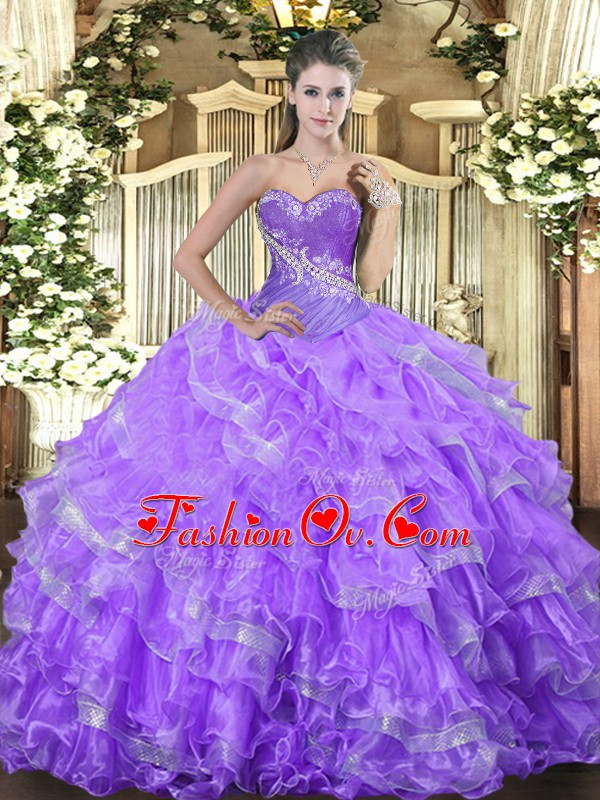 Modern Sleeveless Lace Up Floor Length Beading and Ruffled Layers Ball Gown Prom Dress