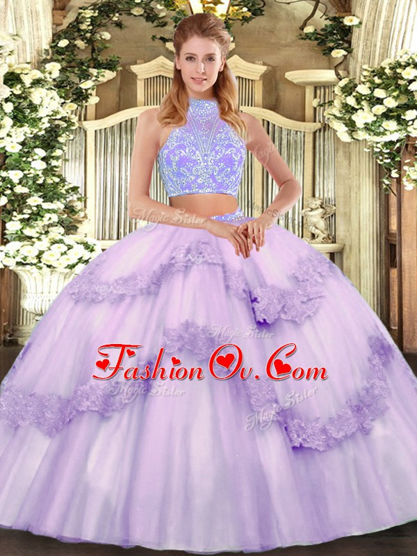 Sleeveless Beading and Appliques and Ruffles Lace Up 15 Quinceanera Dress