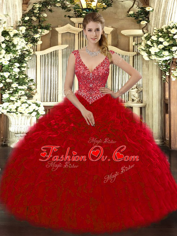 Sleeveless Zipper Floor Length Beading and Ruffles Sweet 16 Dress