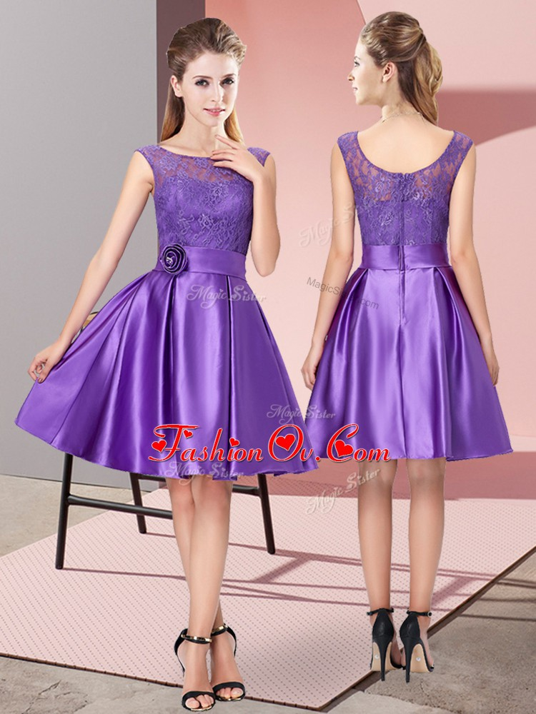 Purple Bateau Zipper Lace and Hand Made Flower Dress for Prom Sleeveless