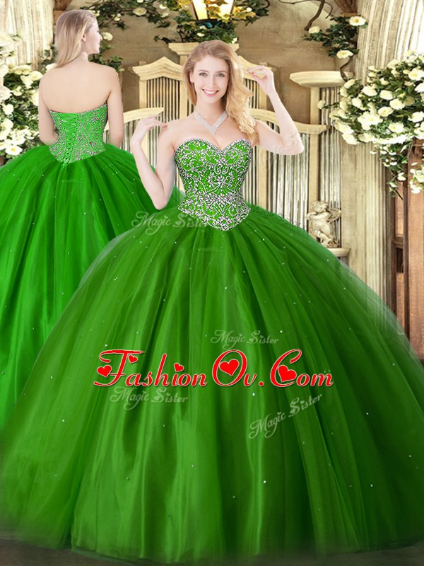 On Sale Sweetheart Sleeveless Tulle 15 Quinceanera Dress Beading Lace Up