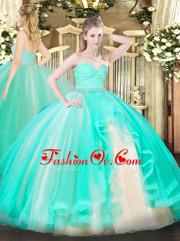 Floor Length Zipper Quinceanera Gowns Apple Green for Military Ball and Sweet 16 and Quinceanera with Beading and Lace and Ruffles